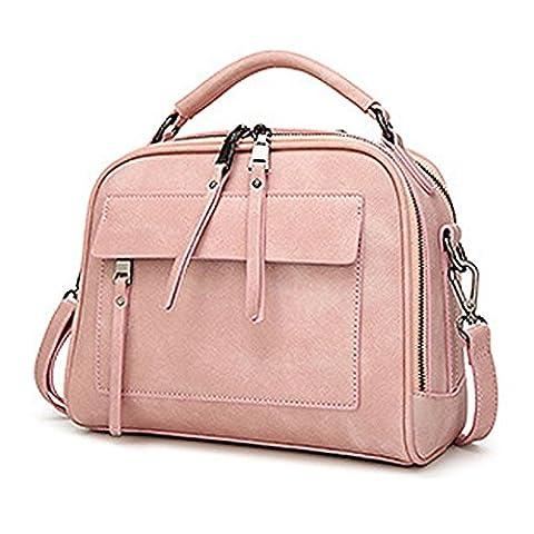 Wewod 2017 Damen Handtasche Einfarbige wissend PU Leder Umhängetasche Frauen Vintage Tasche Mit Multi-Reißverschlusstasche (Rosa)