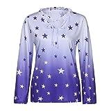 SEWORLD 2018 Damen Mode Sommer Herbst Schal Schnüren Sterne Drucken Damen Shirt Lose V-Ausschnitt Tunika Tops Bluse Übergröße (B-Blau,EU-44/CN-2XL)