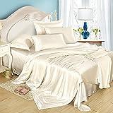 Lilysilk Seide Bettwäsche-Set 2 teilig Bettbezug 135x200cm Kissenbezug 80x80cm Seide Unifarben 19 Momme-Elfenbein
