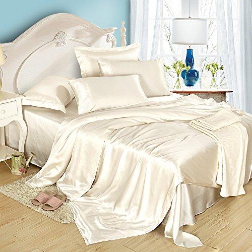 LILYSILK Seide Bettwäsche-Set 4 teilig Bettbezug 135x200cm Kissenbezug 80x80cm Seide Unifarben 19 Momme-Elfenbein