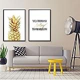 bdrsjdsb Goldene Ananas Brief drucken Kunst Poster rahmenlose Wandmalerei Home Decor Geschenk 2# 21 cm x 30 cm