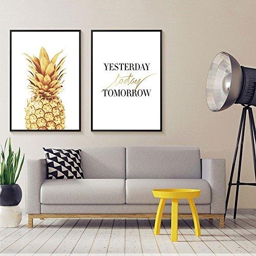 bdrsjdsb Goldene Ananas Brief drucken Kunst Poster rahmenlose Wandmalerei Home Decor Geschenk 2# 21 cm x 30 cm -