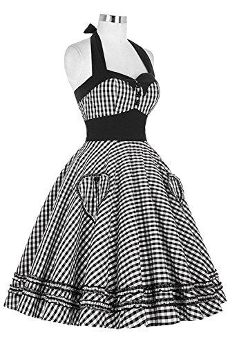 Size Kostüm Jahre Plus Kleid 80er (MisShow Damen Chic Rockabilly Kleider 1950er Audrey Hepburn Kleid Kariert Sommerkleid Schwarz)