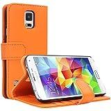 EnGive Samsung Galaxy S5 Hülle Ledertasche Schutzhülle Case Tasche mit Standfunktion und Karte Halter (Samsung Galaxy S5, orange)