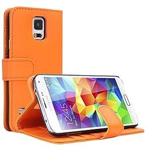 EnGive Flip Housse Étui coque de protection en Luxe cuir pour Samsung Galaxy S5 (Samsung Galaxy S5, orange)