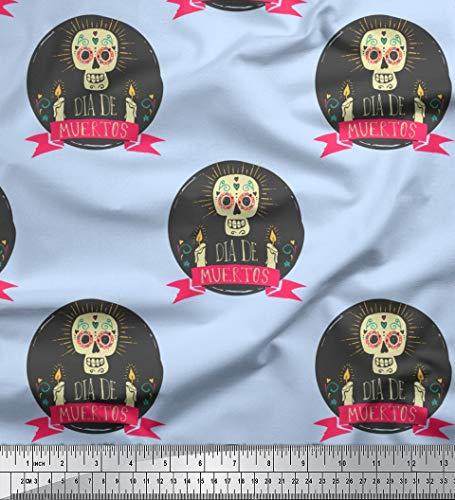 Soimoi Blau Baumwoll-Voile Stoff Text & Schädel Halloween Dekor Stoff gedruckt 1 Meter 42 Zoll breit
