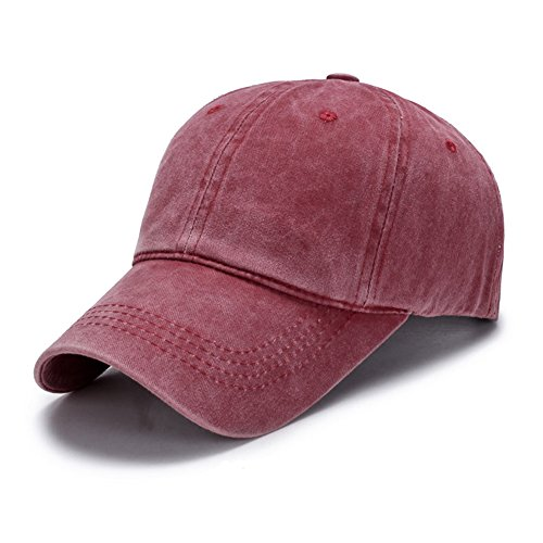 JYOHEY Baseball Cap Damen Vintage Cap im Washed Used Look Einstellbar UV Sonnenhut Atmungsaktive Dünne Baumwollkappe(Dunkelgrau,Weinrot,Hellorange) Vintage-damen-hut