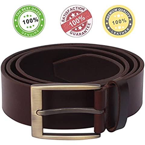 SouvNear Handmade 96.5 cm Brown Color Belt with a Metal Buckle Clasp - Classic Leather Belts for Pants / Trousers - Men's Fashion Accessories for Casual / Formal Wear