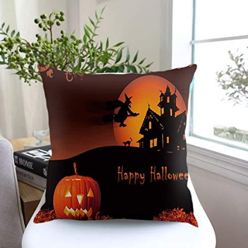 (Footprintse Halloween Nacht Kürbis Brief gedruckt Kissenbezug Leinen Baumwolle Kissenbezug Große Dekoration Roman Festival Geschenk-Farbe: Leinen Farbe)
