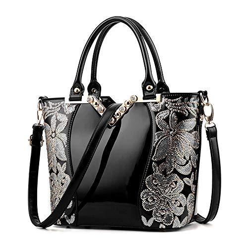 Elegant Design Leather Womens Hand Bag, Black