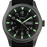 INFANTRY Mens Quartz Wrist Watch Date Day 24Hrs Lume Silver Sport Black Nylon Strap