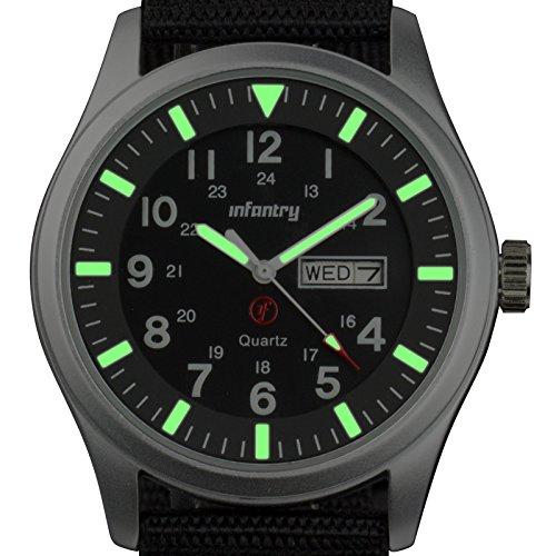 INFANTRY® Mens Analogue Quartz Wrist Watch Date Day 24Hrs Lume Silver Sport Black Nylon Strap