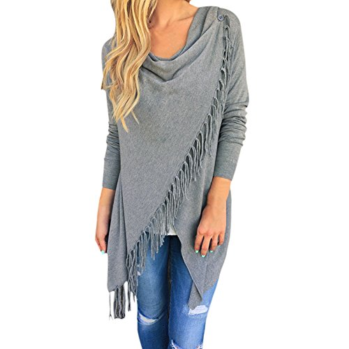 847a83f0486f2 CHIC-CHIC Cardigan Pull Pull-Over Manteau Gilet Tricot Femme Longues  Manches Uni Simple Froufrou Casual (FR42-44, Gris)