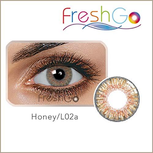 Farbige Jahres Kontaktlinsen braun, blau, grün, grau, türkis weich, ohne Stärke als 2er Pack (2 Stück)- mit Aufbewahrungsbox, angenehm zu tragen, perfekt für helle und dunkle Augen, Party (Braun)