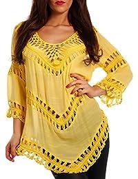 Damen Tunika Hippie Shirt Lochmuster Tunic