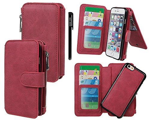 """xhorizon [14 Card Slots] [Magnetische abnehmbar] [Zipper Cash Wallet] Organizer Premium PU-Leder Umhängetasche mit Magnetverschluss für iPhone 6 (4.7"""") Rote"""