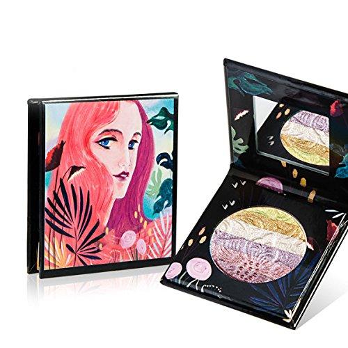 Maquillaje Rainbow Highlighter Sombra de ojos en polvo de larga duración Waterproof Eyeshadow Cosmético Shimmer Blush Contour Palette (1 )