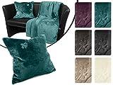 Luxus Wohndecke oder Kissenhülle - Fleur de Lys - Premiumqualität in unifarbenem Design - erhältlich in 6 Farben - mit exklusiver Stickerei und edlem Glanz lädt diese Decke zum Träumen ein, Kissenhülle [50 x 50 cm], petrol