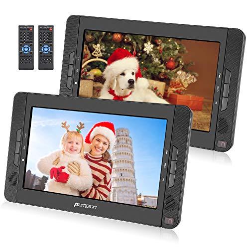 PUMPKIN Lettore DVD portatile per bambini, poggiatesta con doppio schermo da 10.1 pollici con supporto, circa 5 ore di durata, supporto USB/SD/MMC/region free, 18 mesi di garanz