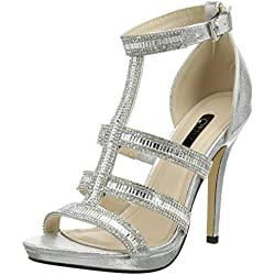 Quiz Diamante Strap Cage High Sandals, Damen Peep-Toe Pumps, Silberfarben, 41 EU (8 UK)