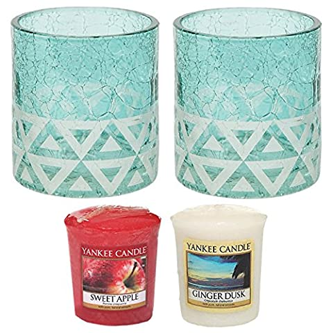 Yankee Candle Cote d'Azur Crackle Votive Holders TWO PACK Plus TWO SAMPLERS Small 7.5cm/3