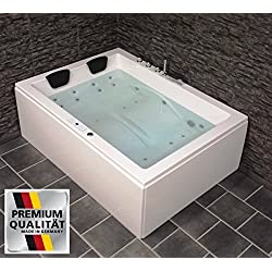 DOBLE Whirlpool bañera Olymp Hecho en Alemania 190 x 140cm mit 24 BOQUILLA DE MASAJE + Iluminación LED / LUZ + Calefacción + DESINFECCIÓN del ozono + BALBOA / DHW + SIN grifería Angular DERECHA O