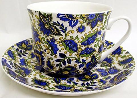 Motif cachemire Tasse et soucoupe pour petit déjeuner Motif cachemire Bleu en porcelaine fine décorée à la main au Royaume-Uni grande tasse et soucoupe de livraison gratuite au Royaume-Uni