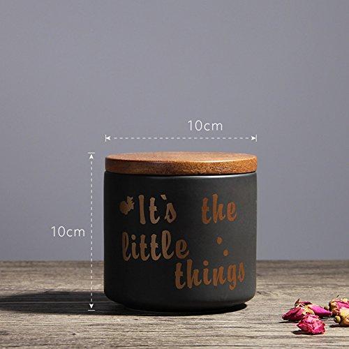 Nordische Keramik Versiegelt Jar Home Keramik Dekorationen Küche Getrocknete Früchte Kaffee Und Tee Kanister Mit Deckel (2 Pc),Black (Küche Kanister-sets-lila)