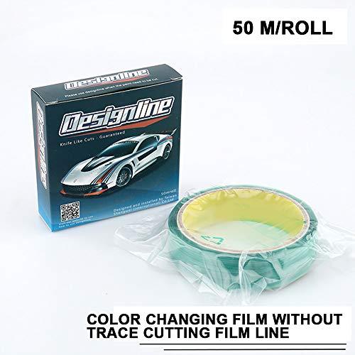 ONEVER 50 Mt Traceless Tape Design Linie Car Wrap Vinyl Schneideband Carbon Film Auto Aufkleber Verpackung Cut Zubehör Cutter Tool (Tool Band-auto-aufkleber)