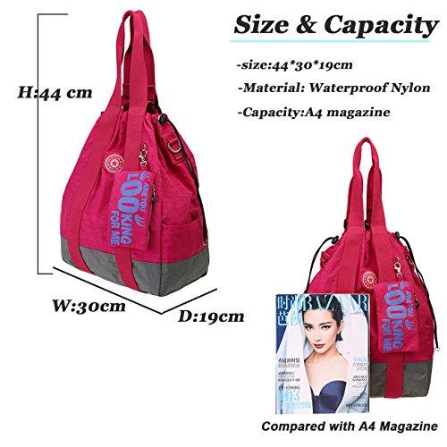 Travistar Wasserdichte Nylon Multifunktions Tasche Damen Rucksack Große Schultertasche Handtasche Windeltasche für Mama Navy blau