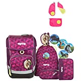 Ergobag Cubo NachtschwärmBär Schulrucksack-Set 5tlg + Sicherheitsset Pink
