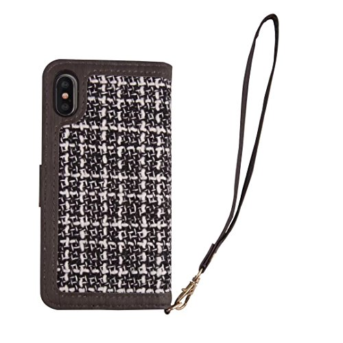 Stitching Edge Wolltuch Texture Premium Ledertasche Cover mit Lanyard und Kickstand für iPhone X ( Color : Brown ) Black