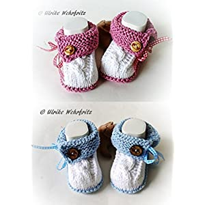 Babyschuhe Tracht Landhaus Taufschuhe Zwillinge gestrickt