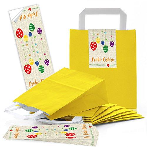 10 gelbe Papiertüten Papier-Tragetaschen Henkel-Tüten, Geschenktüten (18 x 8 x 22 cm) kleine Papiertaschen und 10 lange Oster-Aufkleber 7,2 x 21 cm