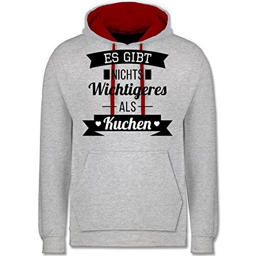 Statement Shirts - Es gibt nichts Wichtigeres als Kuchen - Kontrast Hoodie Grau Meliert/Rot