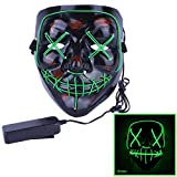 Alxcio LED Light EL Wire Cosplay Maske, Halloween Masken Scary Purge Horror Mask für Halloween Christmas Party Costume,
