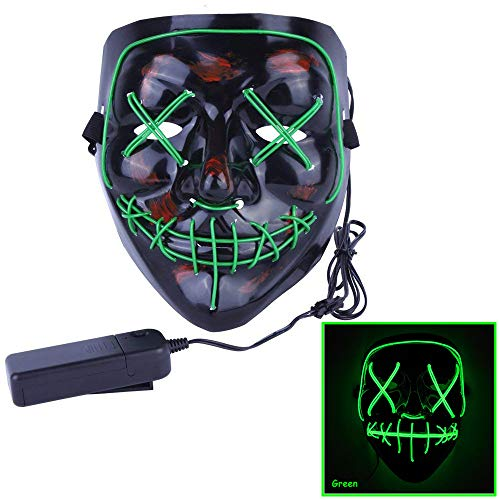 Alxcio LED Light EL Wire Cosplay Maske, Halloween Masken Scary Purge Horror Mask für Halloween Christmas Party Costume, Grün