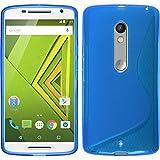 PhoneNatic Case für Motorola Moto X Play Hülle Silikon blau, S-Style + 2 Schutzfolien