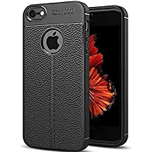 CROMBIE Silicone TPU Auto Focus Leathers Pattern Armor Soft Back Cover Compatible with iPhone 6/6S (Black)