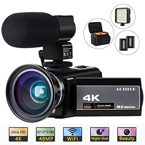 ACTITOP 4K Camcorder, Videokamera 48MP Full HD 1080P WiFi IR Nachtsicht 16X Digital Zoom Camcorder mit externem Mikrofon, Weitwinkelobjektiv, LED Videoleuchte und Kameratasche