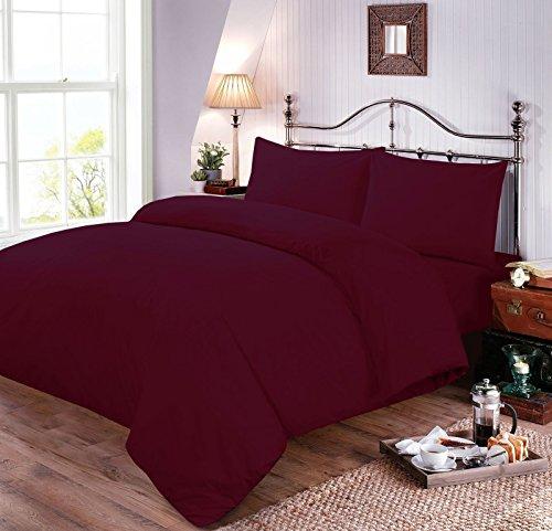 Nimsay Home Uni Gefärbt Weiche Polycotton-Bettbezug und Kissenbezug Kissen Fall Sets, pflaume, Doppelbett -