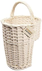 woodluv White Wicker Oval Stair Basket/Step Basket with Handle