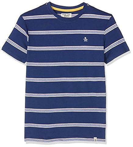 Original Penguin Boy's Birdseye Stripe T-Shirt, Blue (Blue Depths), 12-13 Years