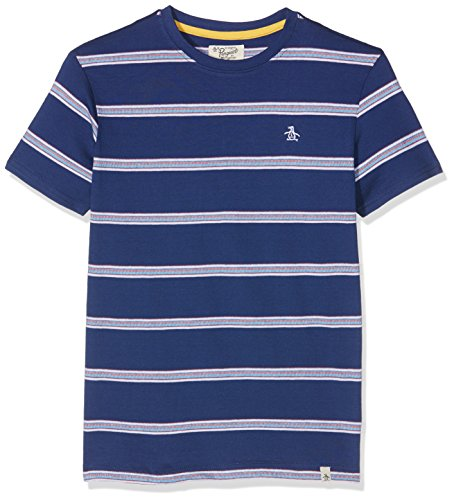 original-penguin-birdseye-stripe-t-shirt-garon-bleu-blue-depths-10-11-ans