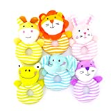 DQTYE Cute Animal Soft Plush Ring Hand Rattles Baby Rattle Craft Handbell Educational Toy for Newborn Infant