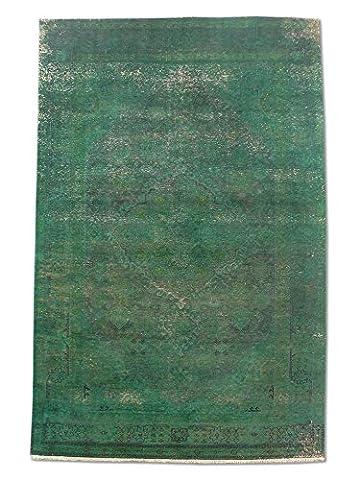 Chobi Handmade Over-Dyed Rug, Wool, Green, 191 X 292 cm, 6' 3