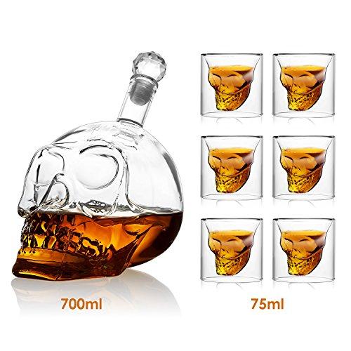 lasche, Totenkopf Flasche 700ml mit 6 Schädel Gläser 75ml, Schädelflasche mit Whisky Vodka oder Schnapsgläser ()
