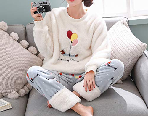 JZX Flannel Pajamas, Female Round Neck Sweet Student Thick Plush Suit Home Service,Blanc,M