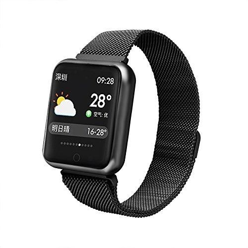Fitness Armband Herzfrequenz,Miya Wasserdicht IP68 Smart Watch Fitness Armband mit Pulsmesser Sport Uhr Smartwatch,Blutdruck,Pulsuhren,Schrittzähler Uhr für Android iPhone Erwachsene Kinder(Schwarz) -
