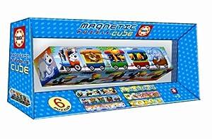 Educa Borrás Magnetic Puzzle Cube - Juego Magnetic Puzzle Cube 5 Tren De Animales 14069